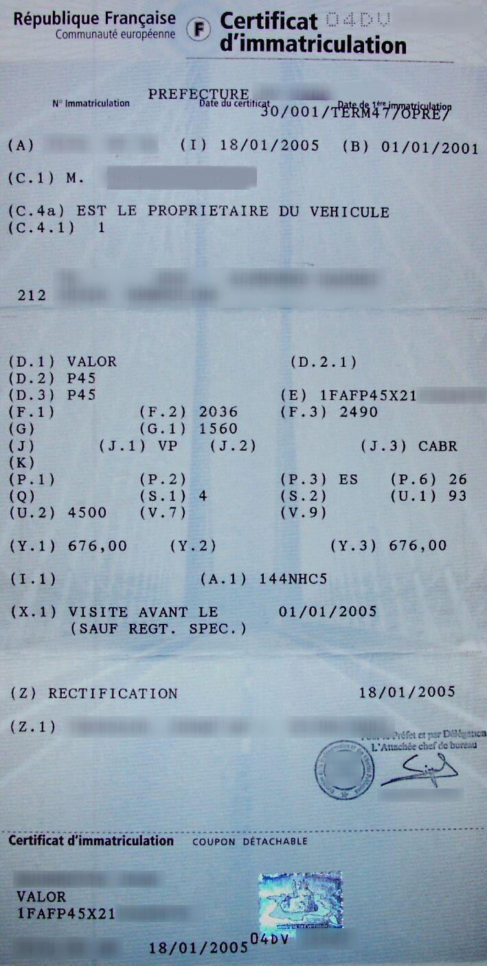 Le 26 Janvier 2005 Rception De Ma Carte Grise